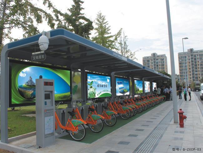 单立柱锁车器,站点控制器,自行车雨棚 浙江湖州公共自行车系统